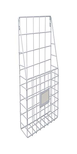 Wall File Organizer Metal White - Simple Chic Adhesive Mounted Wall Organizer, Storage Basket for Magazine, Mail Holder, Office Supplies and Decorations - by Lastly (Pocket Vertical Rack Magazine)