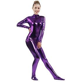 Ensnovo Womens Shiny Metallic Zentai Suit Wetlook Spandex Turtleneck Unitard Purples