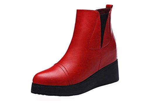 Guciheaven Dames Simple Fashion Korte Laars Volle Zool Met Pluche Gevoerde Leren Wiggen Laars (zwart / Rood) Rood