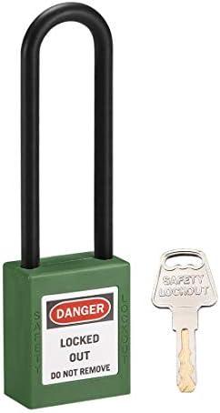 uxcell ロックアウトタグアウトロック 76mmシャックルキー同様安全パドロックプラスチック製ロックグリーン