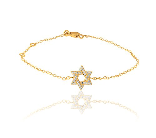 Libertini 0.09 Cts diamant Star Shape Bracelet in 9KT Yellow Gold (GH Color, ...