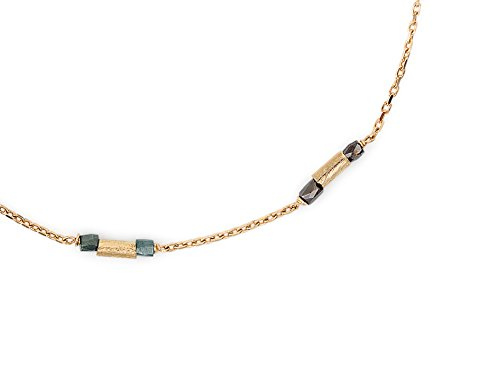 Laura Lee Jewellery femme  9carats (375/1000)  Or jaune|#Gold Asscher   Noir Diamant Abalone FINENECKLACEBRACELETANKLET