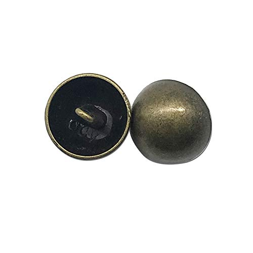 Set of 20 Antique Brass Dome Buttons, Mushroom Domed Buttons, Round Sewing Buttons, Measuring 5/8 inch with Shank,Bronze,Q1807