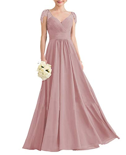 Nicefashion Women's V-Neck Sleeveless Bridesmaid Dresses Long A-Line Plests Beading Evening Party Gowns Size 14 Dusty Rose