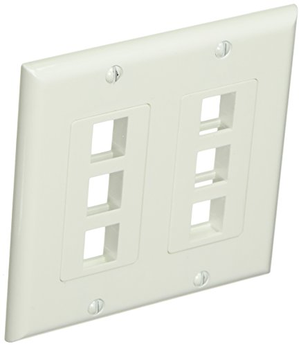 Monoprice 2-Gang Wall Plate for Keystone, 6 Hole - White