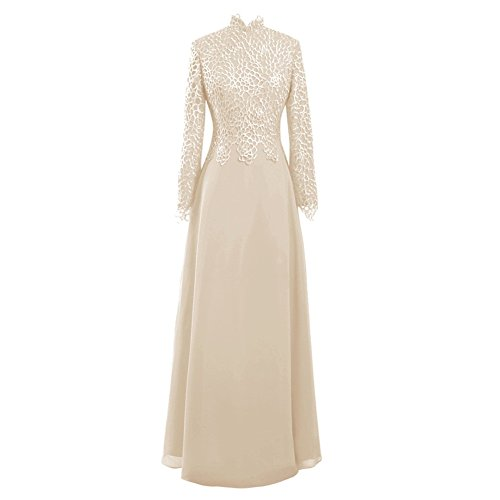 cd9e5fe0c11 ... Women s High Neck Long Sleeves Lace Chiffon Mother Of The Bride Dress  US14 Champagne.   