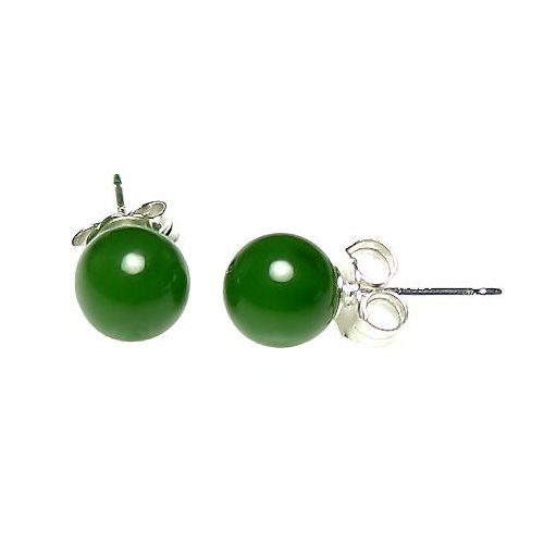 925 Sterling Silver 6mm Natural Nephrite Green Jade Ball Stud Post Earrings (Color Jade Earring)