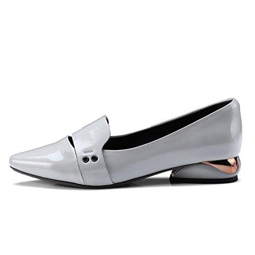 Gris Suave Patentar 35 Para Trabajo Barco Mocasines Mujer Caminar Casual Zapatos Gray Pie Zapatillas Puntiagudo 3 Cómodo Nvxie uk Ponerse Dedo eur37uk455 Cuero Plano Del Eur xZnwTX