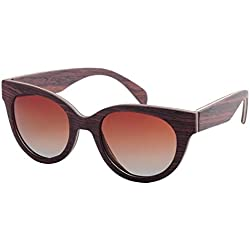 Rock shop Personalidad Hecha a Mano Ojos de Gato Gafas de Sol de Madera for Mujer Lentes polarizadas TAC Protección UV Conducción Pesca Playa Gafas de Sol al Aire Libre Gafas de Sol