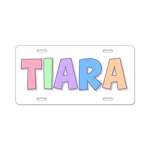 (AhuiA-Tiara Rainbow Pastel Custom Personalized Aluminum Metal Novelty License Plate Cover Front Auto Car Accessories Vanity Tag- 6x12 Inches )