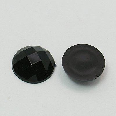 About 25 pcs of Imitation Taiwan Acrylic Rhinestone Cabochons, Faceted, Flat Round, Black, 18x5mm