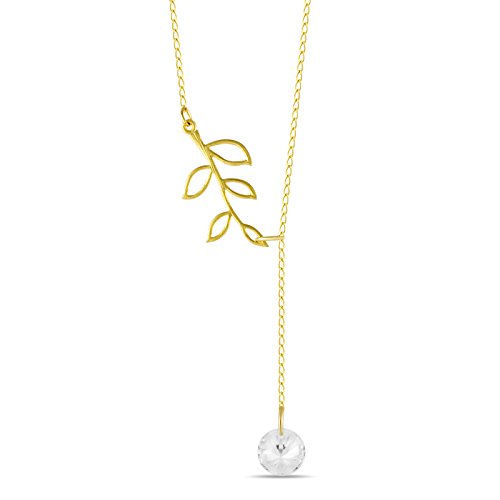 925 Sterling Silver Tree Branch Lariat Necklace, Twig Pendant Y Necklace Lariat w CZ, 14K Gold Plated Branch Necklace, Branch Pendant Twig Necklace, Simple Leaf Necklace - Tree Jewelry Twig