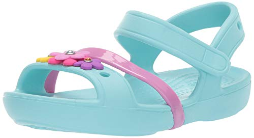 Crocs Lina Charm Sandal Flat, Ice Blue, 12 M US Little Kid