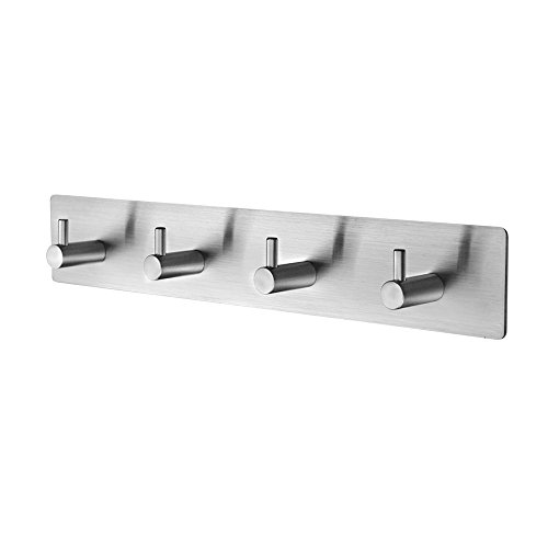 MXTECHNIC Coat Hook SUS304 Stainless Steel Wall Mounted Coat Rack Towel Hook with 4 Heavy Duty Hooks,Wall Mount,Brushed Nickel