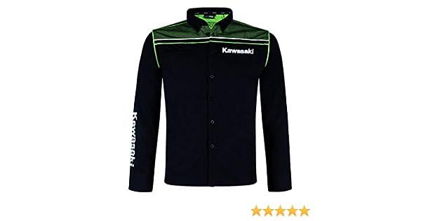 Kawasaki - Camisa Casual - para Hombre Negro Negro y Verde: Amazon.es: Ropa y accesorios