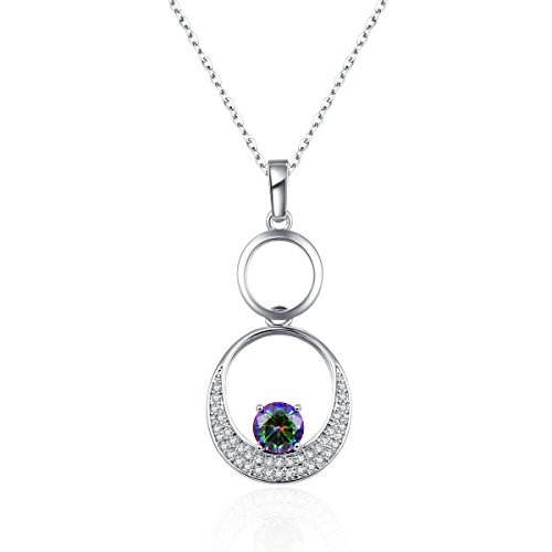 PAKULA Silver Plated Simulated Mystic Rainbow Topaz Circle Pendant Necklace with 18