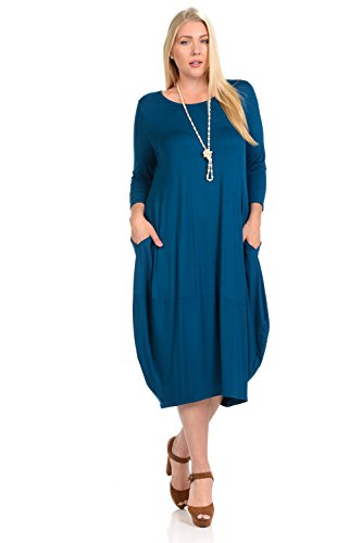 Pastel by Vivienne Women's Cocoon Midi Dress Plus Size X-Large Teal