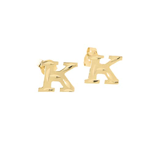 Diamond Initial Letter Cut (14k Yellow Gold Small Diamond Cut Initial Stud Earrings - K)