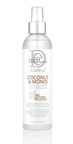 Design Essentials Coconut Water Curl Refresher for Instant Curl Revitalization-Coconut & Monoi Collection, 8oz.