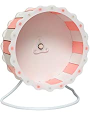 """Petzilla Quiet Hamster Exercise Wheel Silent Spinner, Made of Wood (9"""", Pink-White)"""