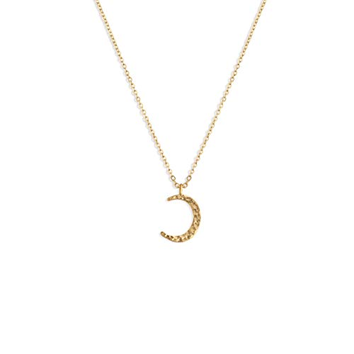 Fettero Crescent Moon Pendant Necklace for Women Dainty Handmade 14K Gold Fill Carved Waning Waxing Moon Phase Pendant Chain Minimalist Jewelry