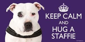 High Quality flexible magnet for indoor or outdoor use for your Fridge Staffordshire Bull Terrier WHITE // Staffie // Staffy Gift Car KEEP CALM LARGE colourful 4 x 8 MAGNET Caravan or use on any flat metal surface -Water proof and UV resistant.
