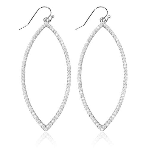 Sparkly Simple Lightweight Geometric Open Hoop Drop Earrings - Cut-Out Dangles Teardrop/Pear/Pointy Oval/Marquise/Circle Cubic Zirconia Crystal/Multi Rhinestone/Acrylic (Pointy Leaf - Silver Pearl) ()