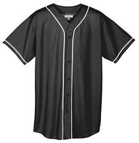 Augusta Sportswear Augusta Wicking Mesh Button Front Jersey with Braid Trim, Black/White, - Piping Softball Jersey