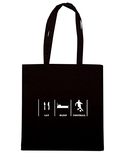 T-Shirtshock - Bolsa para la compra WC1150 Eat Sleep Football Maglietta Negro