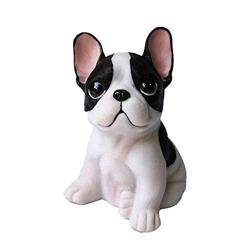 MONLIYA High Emulation Resin Creative Cute French Bull Dog Garden Statue Crafts Dog Lover Gift Sculpture Patio Lawn Courtyard Home Decorations Flower Color