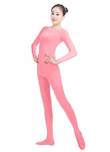 Ensnovo Womens Lycra Spandex One Piece Unitard Full Bodysuit Zentai Suit Costume Pink S (Pink Catsuit)
