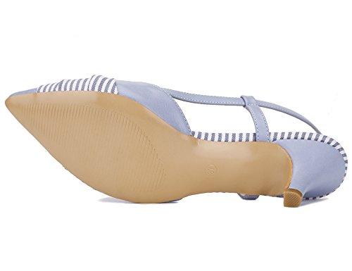 Classique Cuir Talons Pu PU à Bleu Verni Sandales Sexy Escarpins Hauts Chaussures Talon Femme High Pointues Chaussures en Large Greatonu Heels Soiree Pointure Femme Aiguille Mode Mariage qpWRUFwX