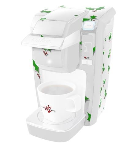 holly-leaves-on-white-decal-style-vinyl-skin-fits-keurig-k10-k15-mini-plus-coffee-makers-keurig-not-