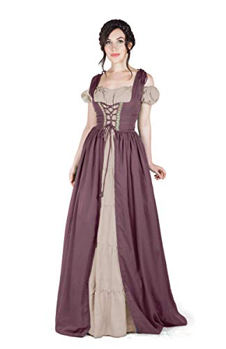Boho Set Medieval Irish Costume Chemise and Over Dress (L/XL, Taupe/Sand) -