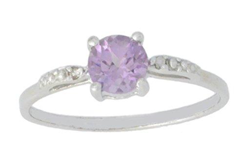 Alexandrite Round Ring - Created Alexandrite & Diamond Round Ring .925 Sterling Silver Rhodium Finish