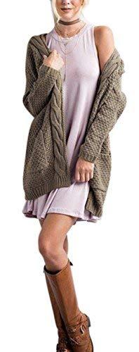 Marca Relaxed Cappotto Lunghe Vintage Aperto Autunno Maniche Di Pullover Eleganti Mode Braun Invernali Outerwear Donne Giacca Forcella Tasche Libero Maglia Tempo Moda A Con qnwf6