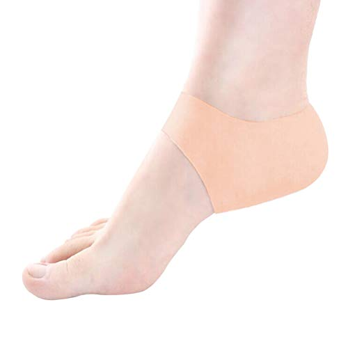 VORCOOL A Pair of Gel Heel Sleeves Protector Pads Silicone Moisturizing Heel Cushion Night Use Half Pain Relief Socks Skin Care Protector (Complexion)