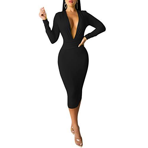 Women's Deep V Neck Long Sleeve Bandage Bodycon Midi Dress