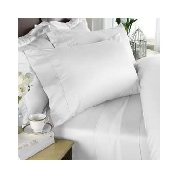 Charmant Luxurious WHITE Solid Solid / Plain, EASTERN KING Size, 1000 Thread Count  Ultra Soft