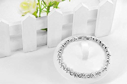Waves of Beauty Genuine Austrian Crystal Sterling Silver Plated Bracelet for Girls and Women with Jewelry Gift Box Packing