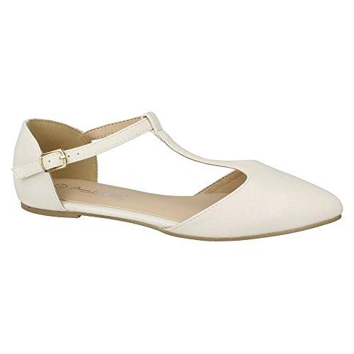 Anne Michelle Womens/Ladies T Bar Plain Flat Heel Sandals Synthetic White VVMgaoJb