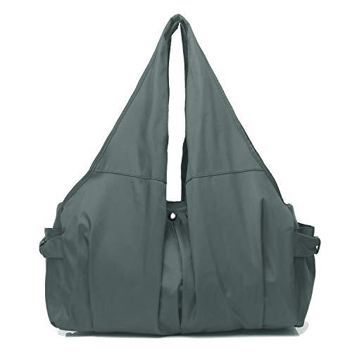 Shoulder Bag for Women, Waterproof Shopping Lightweight Work Purse and Handbag Travel Tote Oxford Nylon Large Capacity Hobo (8022-GREY) ()