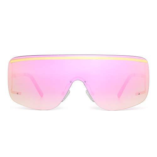 (Oversized Shield Sunglasses Flat Top Gradient Lens Rimless Eyeglasses Women Men (Gold/Mirrored Pink))