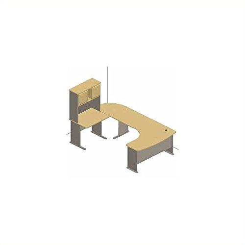 Advantage Series Computer Desk - Bush Furniture Light Oak Advantage Series U-Shape Computer Desk with Hutch