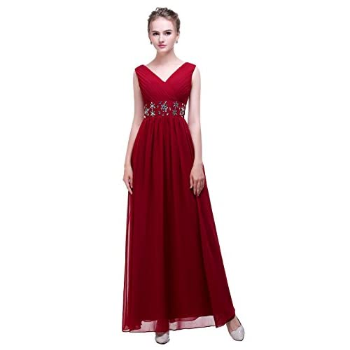 Wholesale esvor Esovr V Neck Handmade Beadings Chiffon Long Evening Prom Gown Bridesmaid Dresses supplier