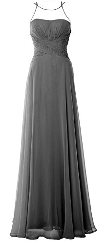 Simple Dress Gown Prom Halter Formal Elegant Bridesmaid Long Grau Chiffom MACloth zIwYaqHH