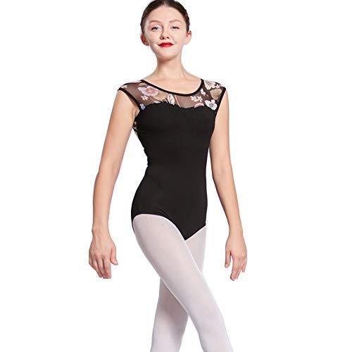 Limiles Adult Cap Sleeve Floral Print Gymnastics Leotards for Ballet Dance