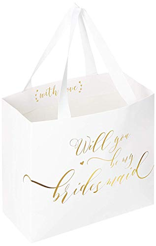 Ling's moment Set of 6 Bridesmaid Proposal Asking Gift Bags Gold Foiled