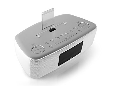 iHome iDL44 Lightning Dock Dual Clock Radio with USB Charge/Play for iPhone 5/5S & 6/6Plus 7/7Plus & All iPad Models with Lightning Connector - Newest Model (White/Silver)