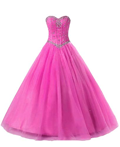 Beilite Women's Sweetheart Prom Long Dresses Quinceanera Gown with Crystal Sequins Hot Pink 2